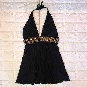 Black Sky halter with gold chain detail size M